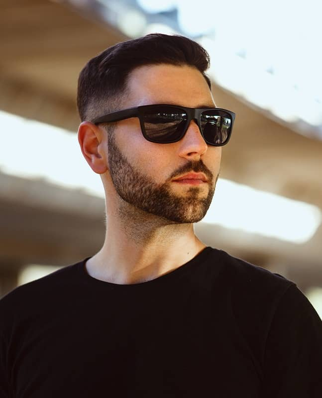 square faced man with fade haircut