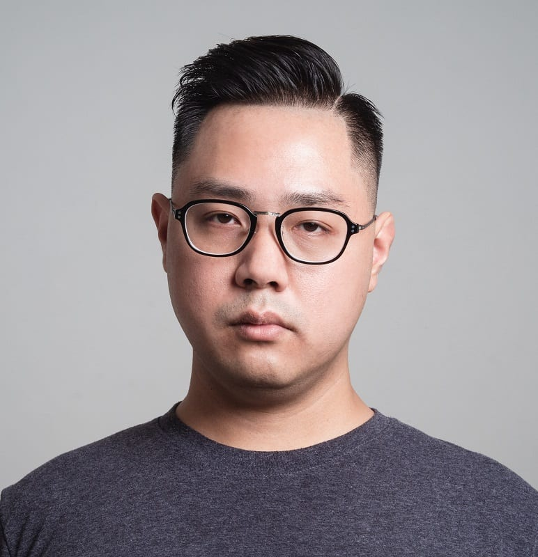 asian men's hard part haircut