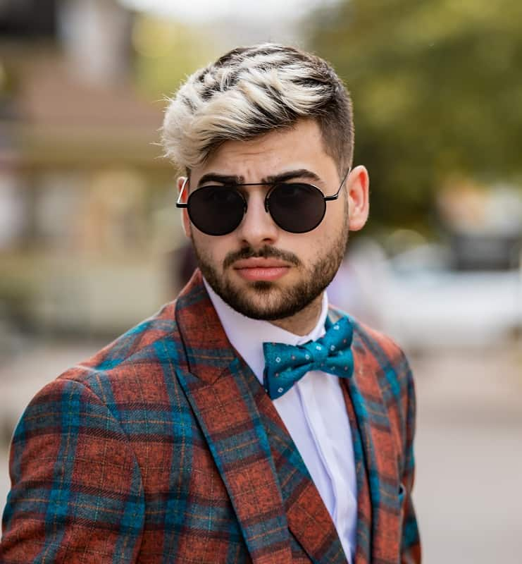 hipster man with highlighted hairstyle