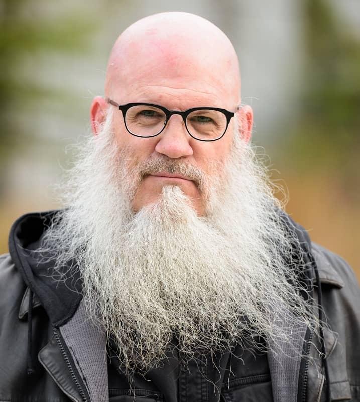 bald man with long beard
