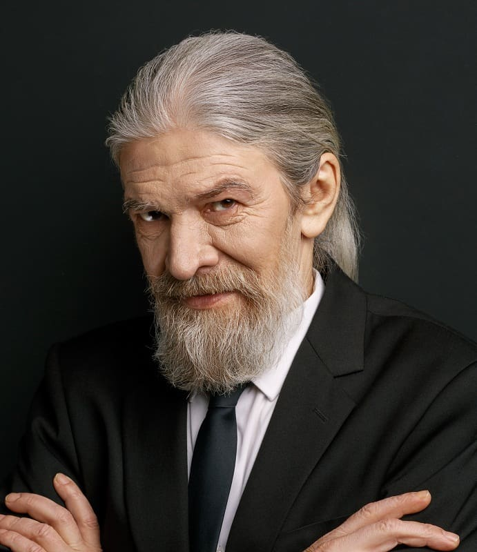 long hairstyle for older men
