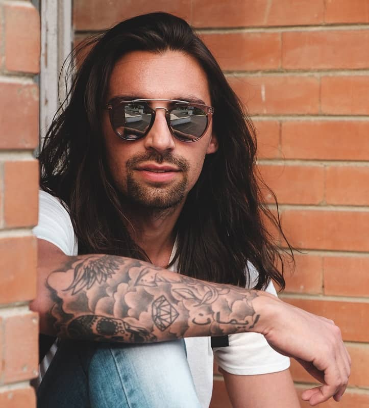 Hipster man with long hair