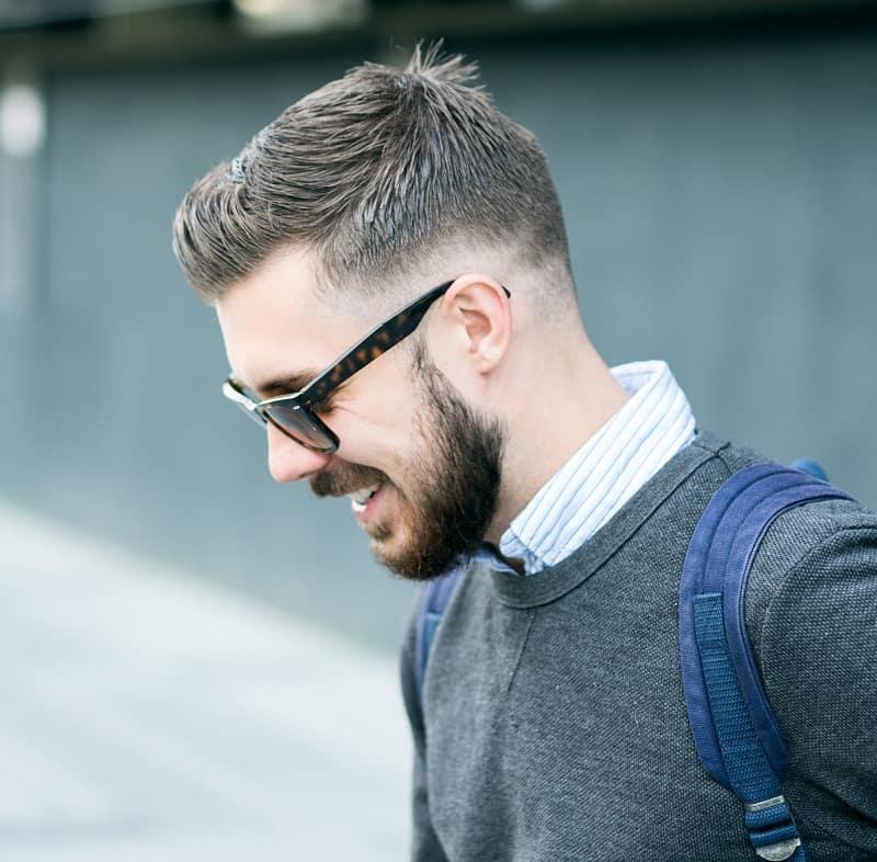 men's short comb over fade