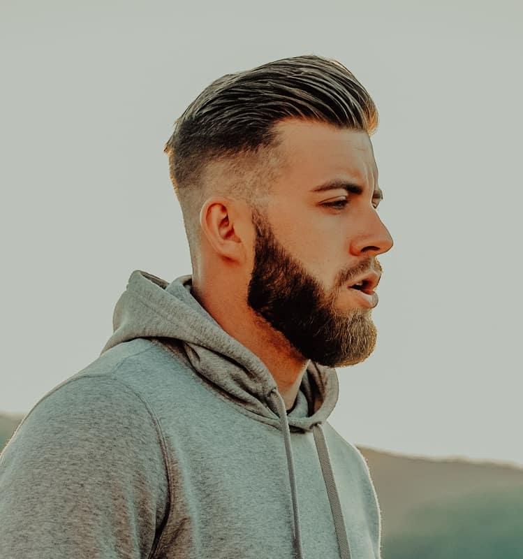 faded slick backcomb over haircut