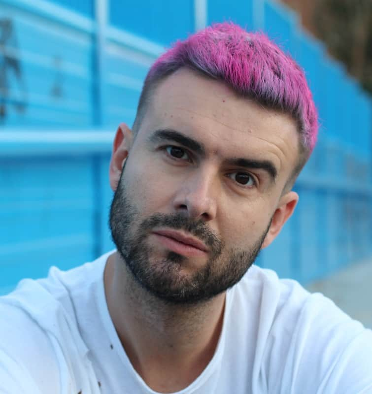 pink highlights for men with dark hair