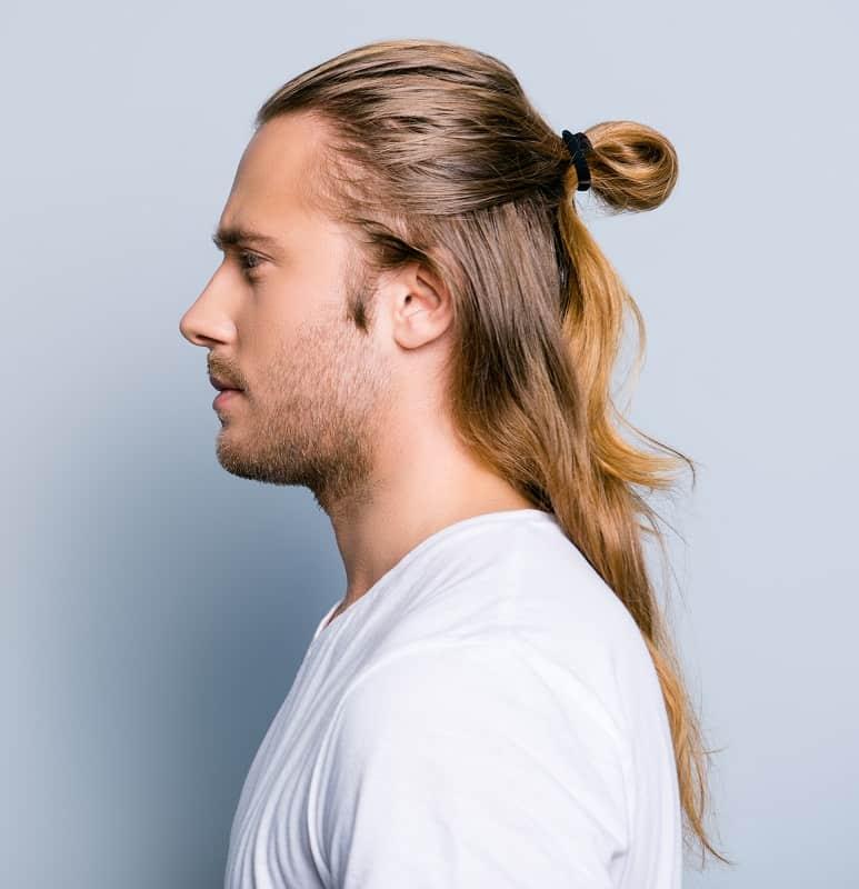 half up samurai hairstyle