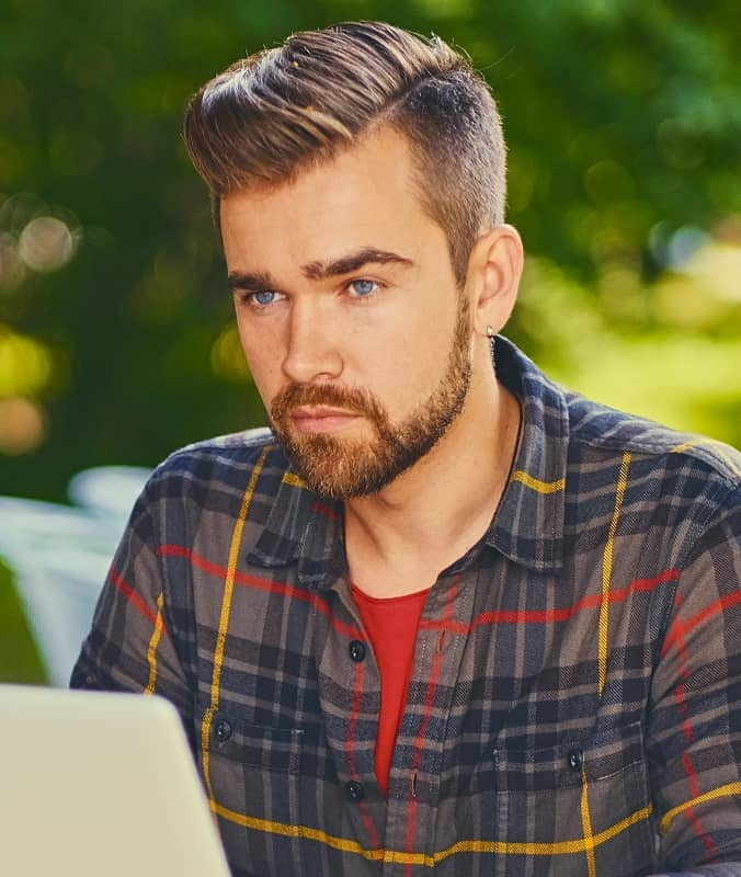 hipster guy with side part hairstyle