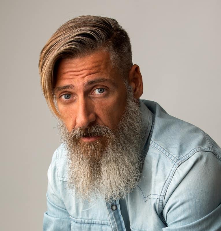 side swept haircut for older men