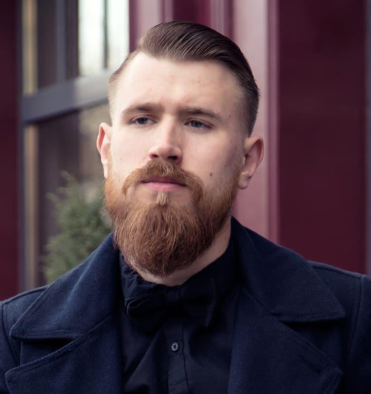 slick back haircut with beard
