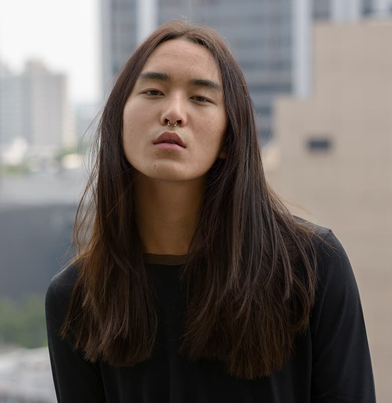 asian man with long straight hair