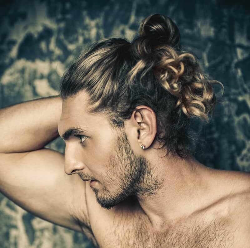 long hair with stubble beard