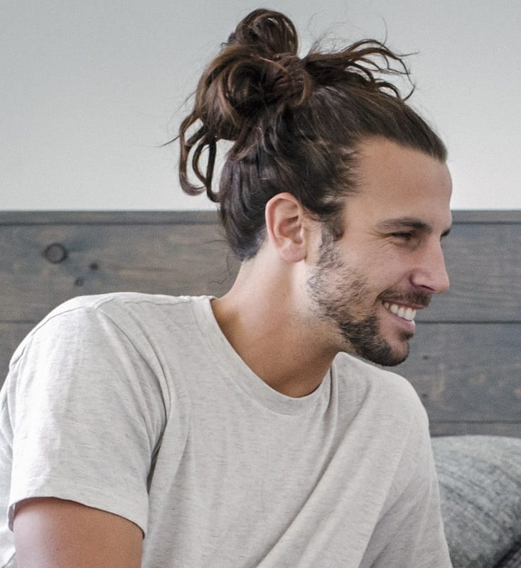 messy top knot for men