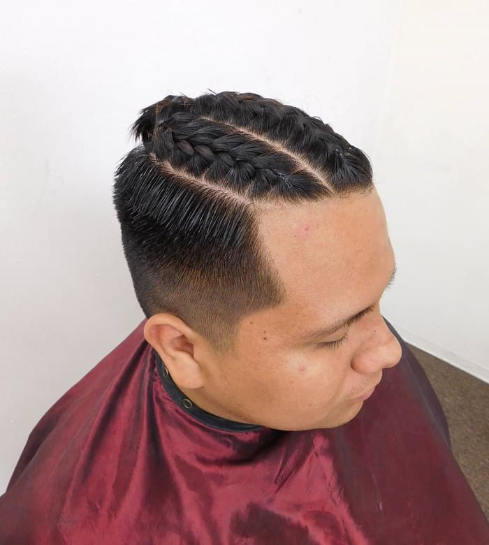 two braided buns for men