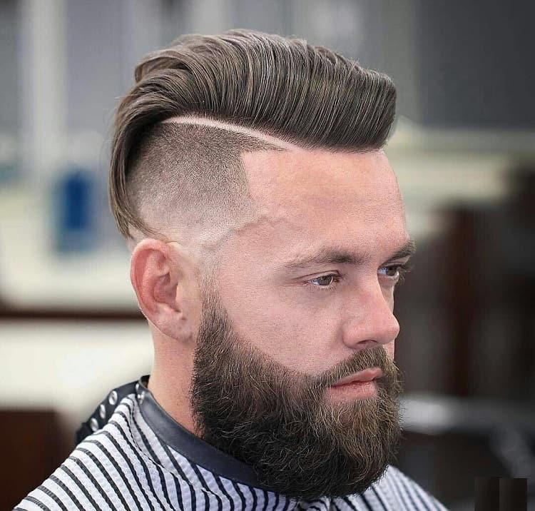 pompadour with fade for square face