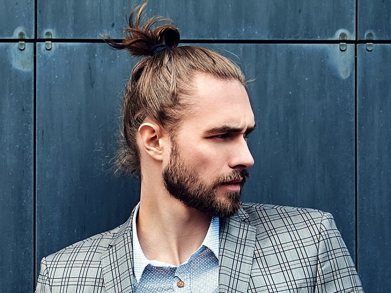 top knot for man with square face shape